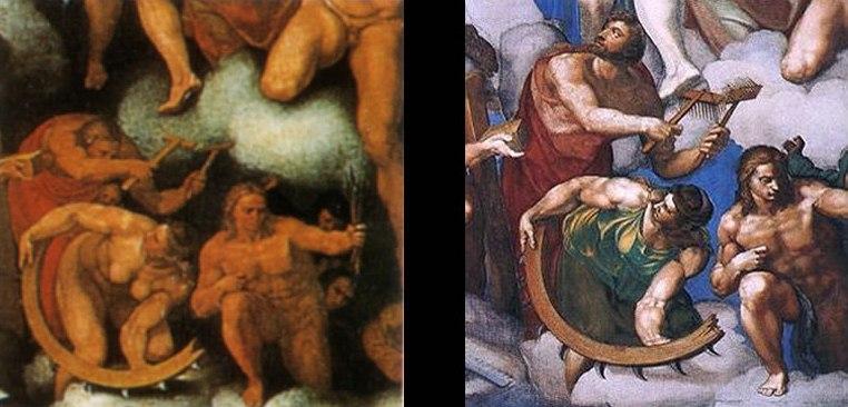 Venusti and Volterra last judgcompared