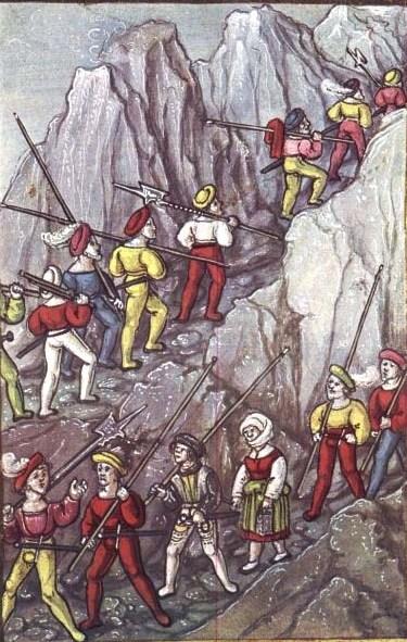 Swiss mercenaries crossing alps
