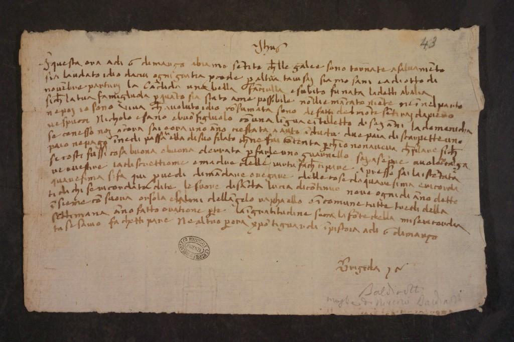 Brigid Baldinotti letter to her son