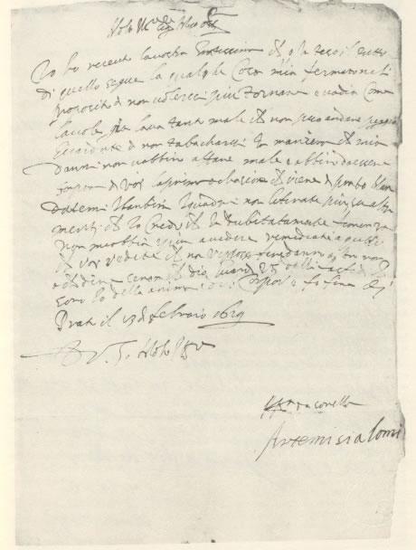 Artemisia Gentileschi letter