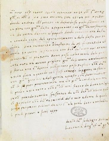 Lucrezia Borgia letter to Alexander VI