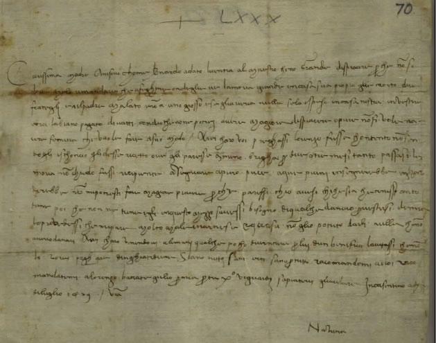 Letter of Nannina de' Medici Rucellai to Lucrezia Tornabuoni