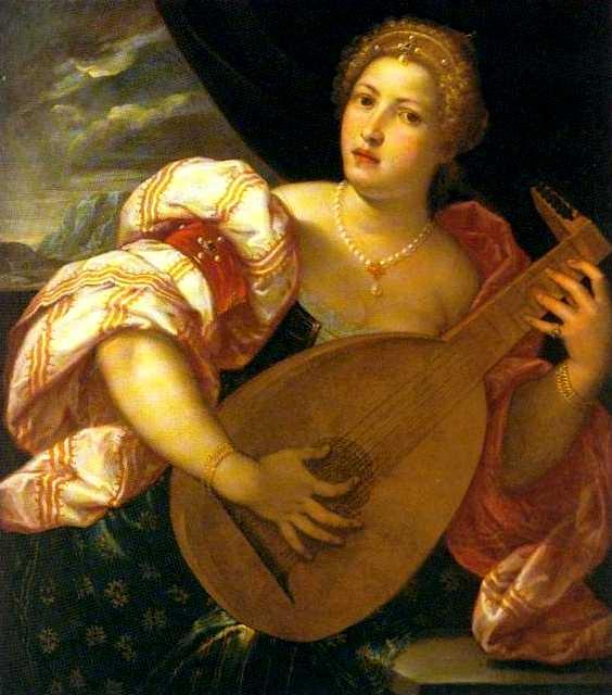 Venetian Courtesan playing lute